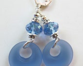 Blue Glass and Crystals Dangle Sterling Silver Leverback Earrings