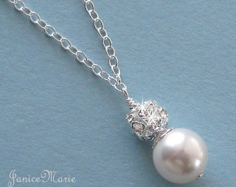 Bridesmaid Jewelry - Pearl and Crystal Rhinestone Fire Ball Pearl Drop Wedding Necklace - Solitaire Pearl -  Pearl Necklace by JaniceMarie