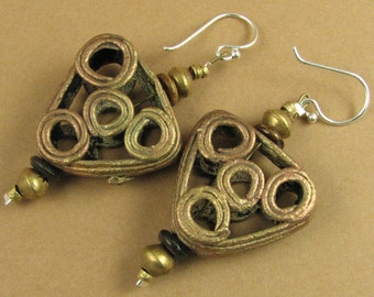 Large African bead earrings. Copper /brass. Triangle. Sterling silver.