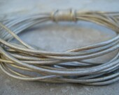 METALLIC PEARL Round Leather Cord 1.5 mm Cording 4 yards Creme Gray, Light Silver, Off White, Great Leather Wrap Cord