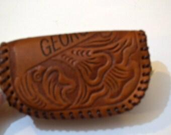 Vintage Leather Souvenir Coin Purse Georgia