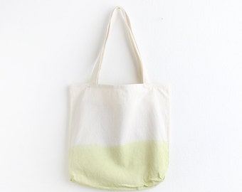 Light green dip dye cotton tote