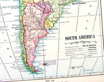 South America Map -  Antique 1910 World Atlas Book Plate - 9 x 7 - TB