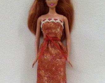 Dark Orange Handmade Barbie Dress