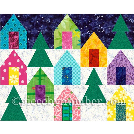 Quilting Patterns For Houses : Cozy Cabins quilt block pattern paper pieced quilt patterns