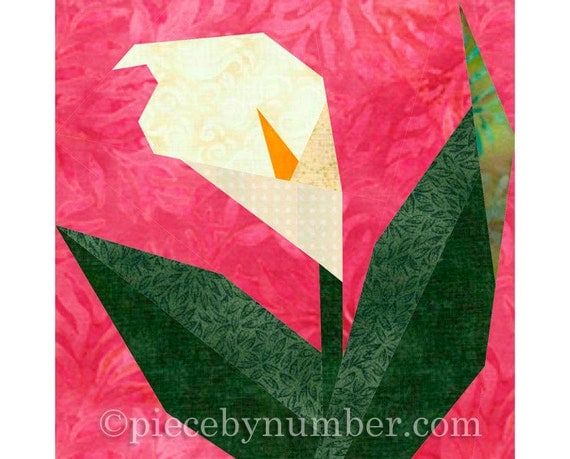 Calla Lily flower quilt block pattern, paper pieced quilt patterns, instant download PDF pattern, flower quilt patterns, flower patterns