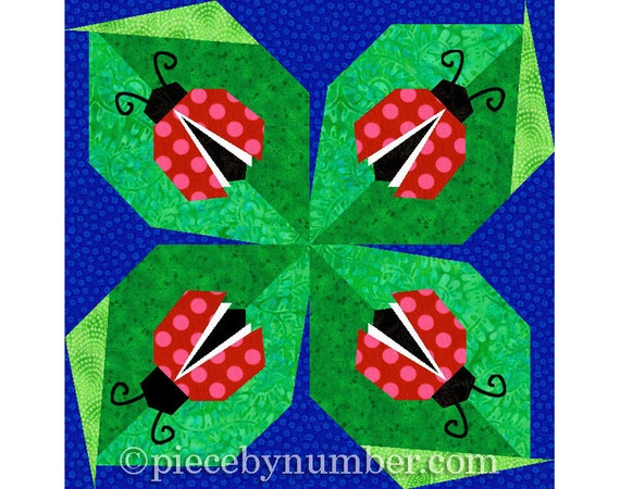 Ladybug quilt block pattern, paper pieced quilt patterns instant download PDF, ladybug pattern, ladybird pattern, lady bug quilt pattern