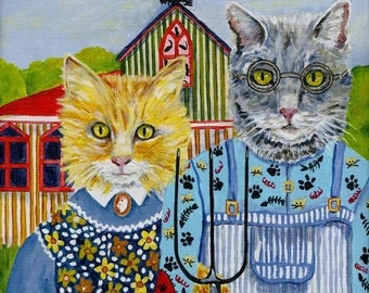 American Gothic Style Cat Commissioned Portrait Painting