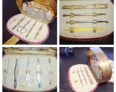 Vintage vanity set, manicure set, perfume bottles in case - photo prop