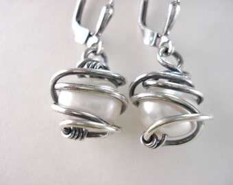 White, Fresh Water Pearl, Earring, Sterling Silver, Fresh Water Pearl, Caged Pearl