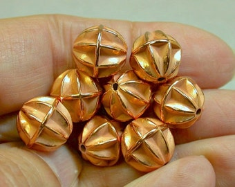 Vintage COPPER Lucite Beads Shiny Pinched Melon 12mm pkg 12 res458