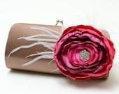 Coco Brown Clutch - Bridal Clutch Bridesmaid Clutch - Magenta Fuchsia Pink Ombre Flower & Feather Clutch With Rhinestones  - Bouquet Clutch