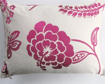 Magenta Pillow Cover -- Magenta Hot Pink and Ivory Throw Pillow Cover -- 12 x 16