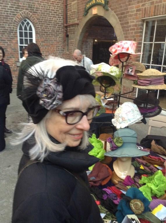 Polar Fleece Headband - Flapper Headband with Feather - Black and Grey - Madeline