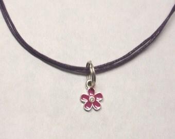Flower charm necklace - purple - neck cord