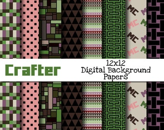 Eight 12 x 12 Pixel Game Inspired Digital Scrapbooking Background Papers - INSTANT DOWNLOAD