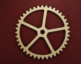 Gear Shape Unfinished Wood Laser Cut Shapes Crafts Variety of Sizes