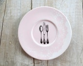 SALE - Shabby Kitchen - Wall Decor - Fork Spoon - Wall Art - Cottage Kitchen - Pink White - Farmhouse - Hanging Plate - 50% off