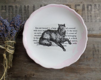 Pink Woodland Wolf - Weathered Vintage Black Wolf Print -  Forest Nursery - Eco Friendly - Pink White - Wall Decor - Sign - Woodsy