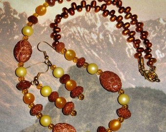 Pearl and Goldstone Necklace n Earring Set, Pumpkin and Spice Colors, Handmade Fall Jewelry, Glittery Goldstone