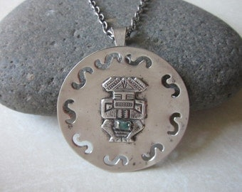 Vintage Sterling and Emerald Inca Pendant Necklace