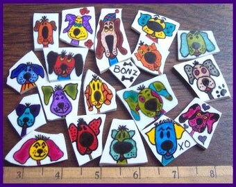 Mosaic Tiles JUST SILLY DOGS batch 8 hand painted China Mosaic Tile