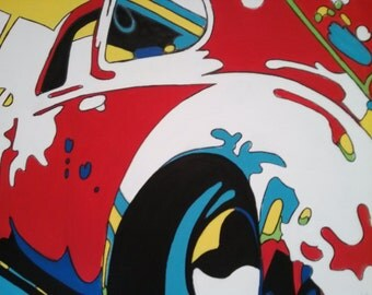 Red VW Bug Abstract Pop Art