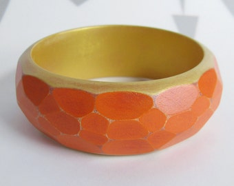 Faceted Wood Bracelet, Modern Geometric Bangle, Wooden Jewelry, Orange & Gold, Faceted Bangle, medium-small