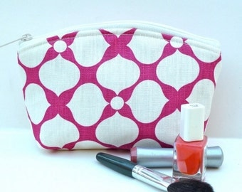 Sale - Contemporary - Raspberry - Pink - Makeup Bag - Zippered Pouch - Padded - Flat Bottom - Round Top - Ready to Ship