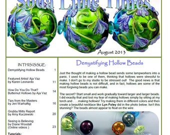 August 2013 Soda Lime Times Lampworking Magazine - Hollow issue - (PDF) - by Diane Woodall