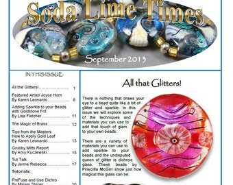 September 2013 Soda Lime Times Lampworking Magazine - All that Glitters - (PDF) - by Diane Woodall
