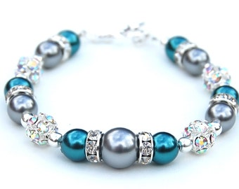 Dark Teal and Silver Gray Pearl Rhinestone Bracelet, Bridesmaid Jewelry, Winter Wedding, Gift for Her, Under 30, Wedding Party