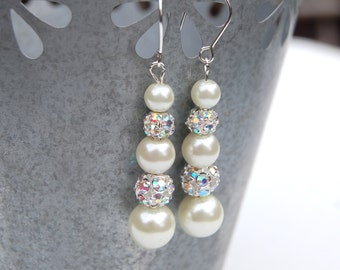 Bridal Pearl Rhinestone Earrings, Brides Jewelry, Bridesmaid Jewelry, Wedding Party Jewelry