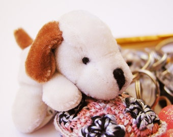 White Doggie whimsical carabiner keychain made with new, old and vintage findings