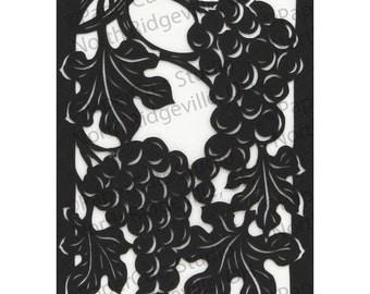 Vinyard Papercut ACEO, Handcut Original