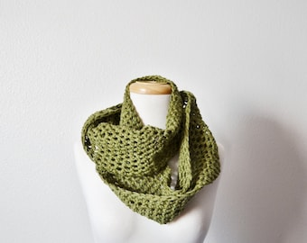 Yoop Scarf in Military Moss - Green Handmade Loop Scarf Infinity Scarf Cowl Wraparound Loop Scarf For Women or Men. Fall Fashion Texture