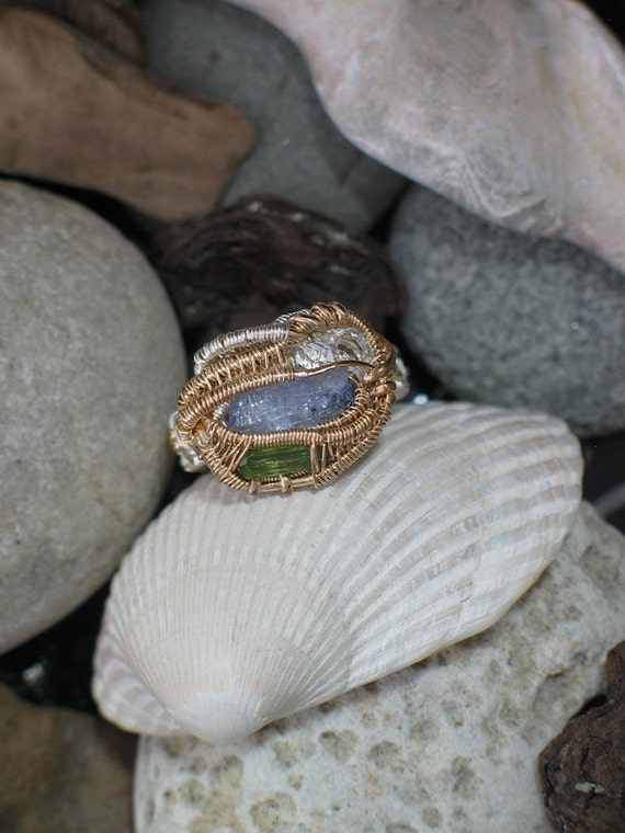 RESERVED Tanzanite, Tourmaline, and Herkimer Diamond Raw Crystals Wire Wrap Ring Size 9