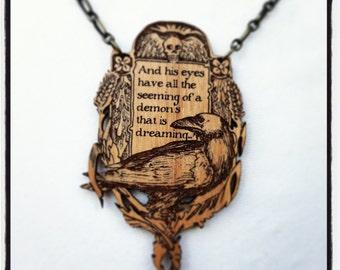 Edgar Allan Poe Raven engraved alder wood pendant