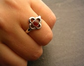 Small Gothic Ring with Carnelian
