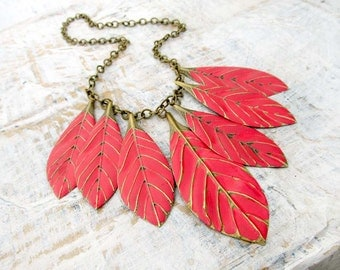 Leaf bib necklace Red statement necklace Boho Bohemian jewelry