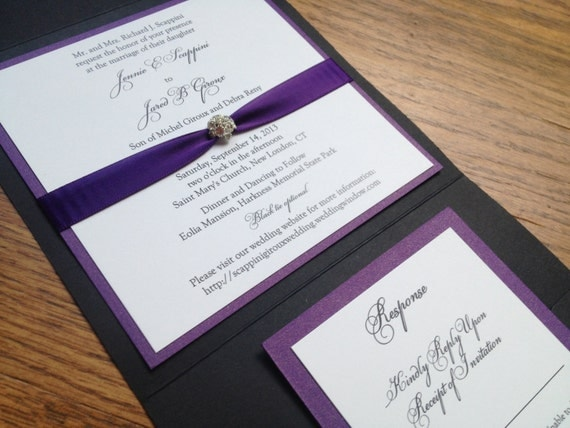 Glamourous Pocket Square Wedding Invitation In By