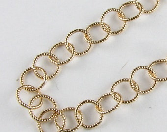 Shiny Gold Filled Circle Twisted Wire Bubble Chain 7mm, Necklace Chain, Bracelet Chain (18 inches)