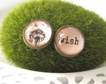 Dandelion Wish Mismatched Antique Brass Post Earrings