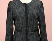 Woman's Black and Grey Cadet Style Cropped Blazer Size Small
