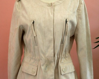 Cream Colored Chamois Jacket, Ivory Jacket, Ladies Outerwear, Summer Outerwear, Drawstring Jacket,  Zipper Detailed Pockets