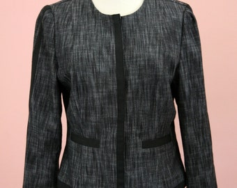Woman's Black and Grey Cadet Style Cropped Blazer Size Small, Black Blazer, Crop Blazer, Cadet Style, Grey Blazer, Work Attire