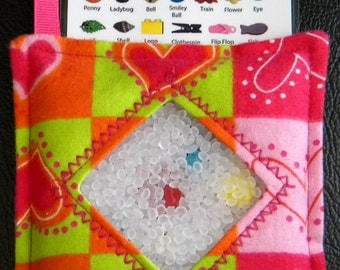 I Spy Bag - Mini with SEWN Word List and Detachable PICTURE LIST- Heart Blocks