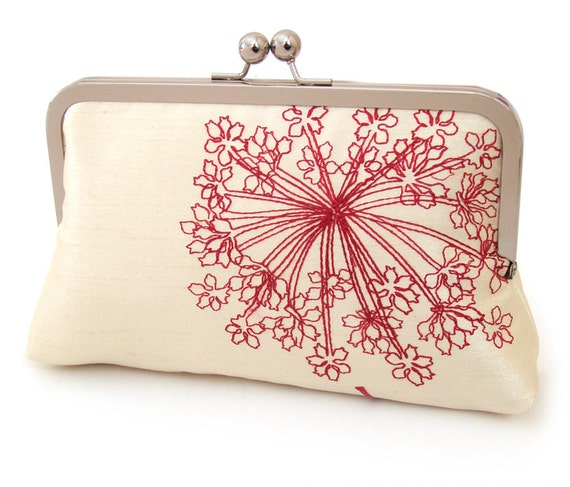 ON SALE: Clutch purse, wedding bag, red and ivory star flower, bridesmaid gift, Ruby Pod