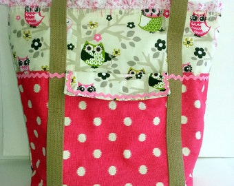 SALE Extra Large Diaper Bag Baby Shower Gift Craft Bag Knitting Bag Owls Pink Polka Dot RicRac with Crochet Trim-9 Pockets