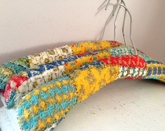 Vintage Terry Cloth Brightly Patterned Hangers, Set of Three, Patchwork, Primary Colors, Red, Yellow, Blue